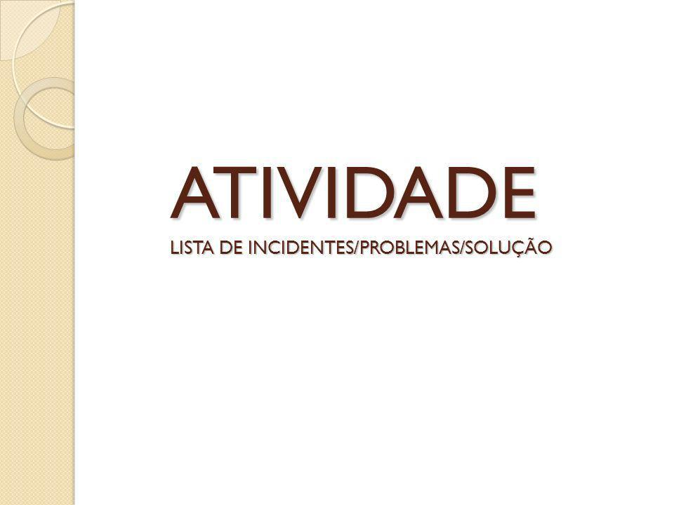 ATIVIDADE LISTA DE INCIDENTES/PROBLEMAS/SOLUÇÃO