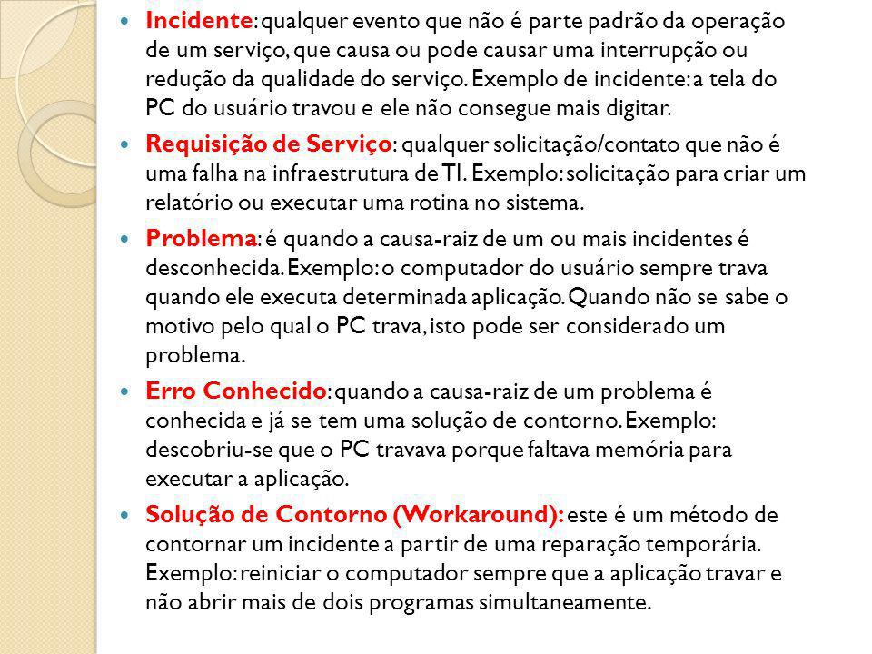 Incidente: qualquer evento que não é parte padrão da operação de um serviço, que causa ou pode causar uma interrupção ou redução da qualidade do serviço. Exemplo de incidente: a tela do PC do usuário travou e ele não consegue mais digitar.