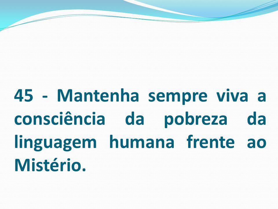 45 - Mantenha sempre viva a consciência da pobreza da linguagem humana frente ao Mistério.