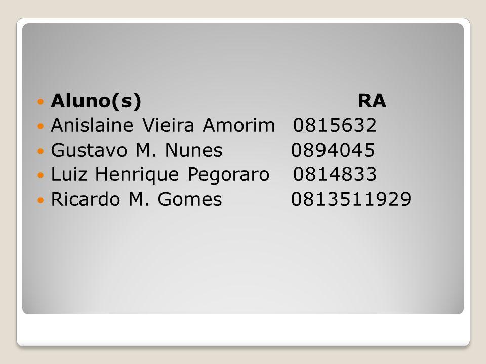 Aluno(s) RA Anislaine Vieira Amorim 0815632. Gustavo M. Nunes 0894045.