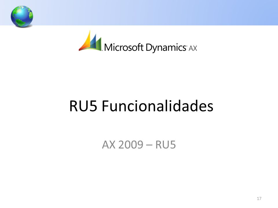 RU5 Funcionalidades AX 2009 – RU5