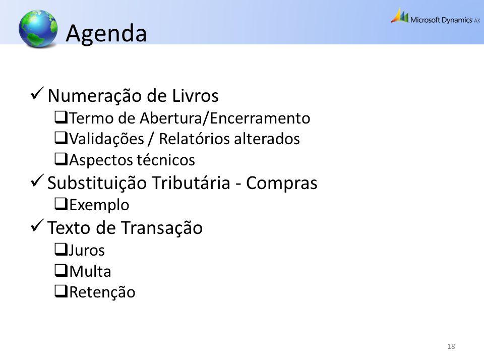 Agenda Numeração de Livros Substituição Tributária - Compras