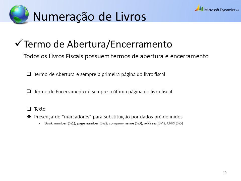 Numeração de Livros Termo de Abertura/Encerramento