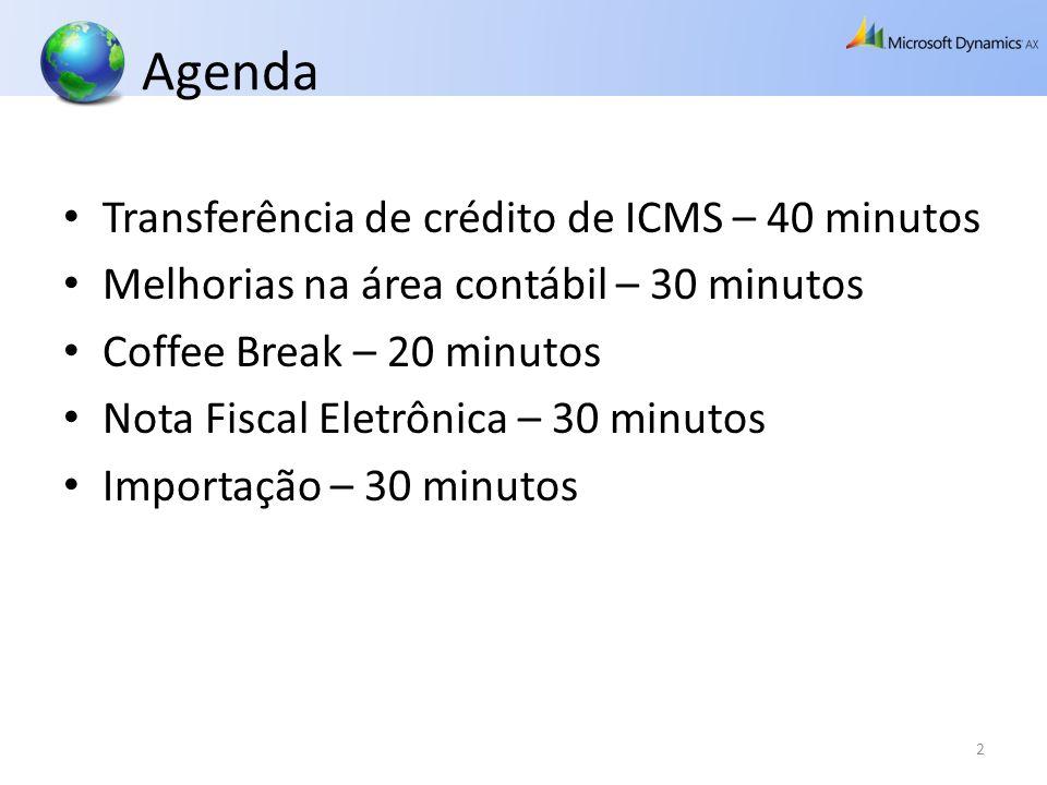 Agenda Transferência de crédito de ICMS – 40 minutos