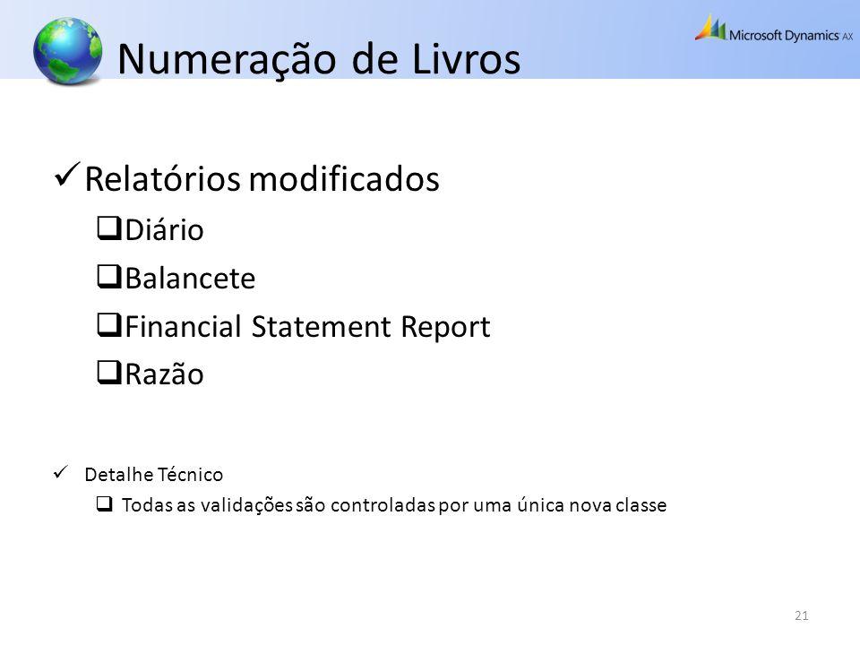 Numeração de Livros Relatórios modificados Diário Balancete