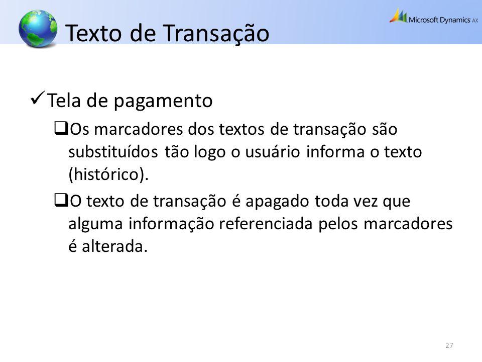 Texto de Transação Tela de pagamento