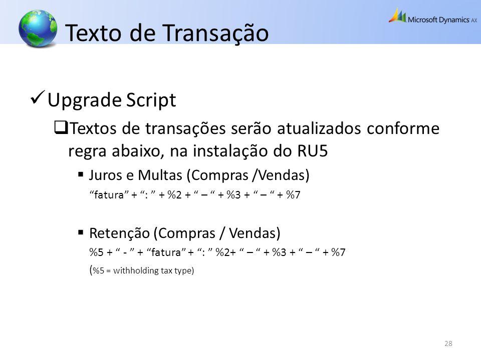 Texto de Transação Upgrade Script