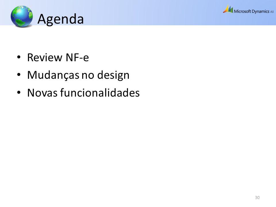Agenda Review NF-e Mudanças no design Novas funcionalidades