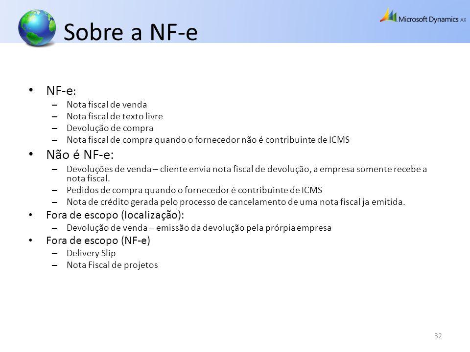 Sobre a NF-e NF-e: Não é NF-e: Fora de escopo (localização):