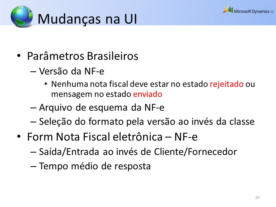 Mudanças na UI Parâmetros Brasileiros