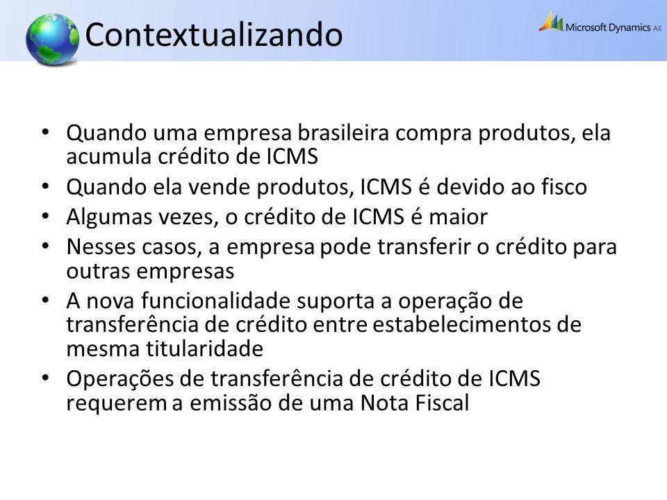 Contextualizando Quando uma empresa brasileira compra produtos, ela acumula crédito de ICMS. Quando ela vende produtos, ICMS é devido ao fisco.