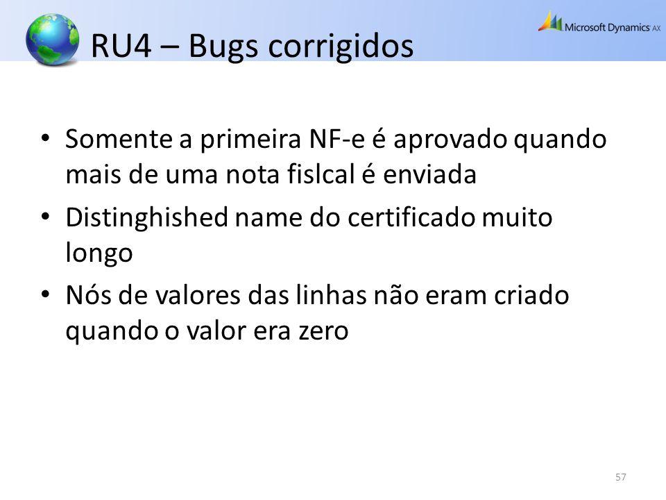 RU4 – Bugs corrigidos Somente a primeira NF-e é aprovado quando mais de uma nota fislcal é enviada.