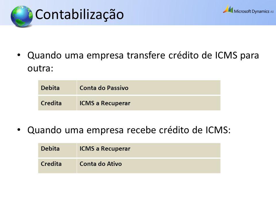 Contabilização Quando uma empresa transfere crédito de ICMS para outra: Quando uma empresa recebe crédito de ICMS: