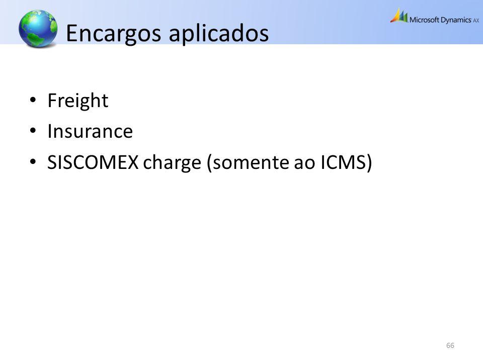 Encargos aplicados Freight Insurance SISCOMEX charge (somente ao ICMS)