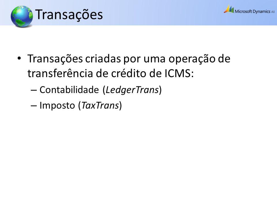 Transações Transações criadas por uma operação de transferência de crédito de ICMS: Contabilidade (LedgerTrans)