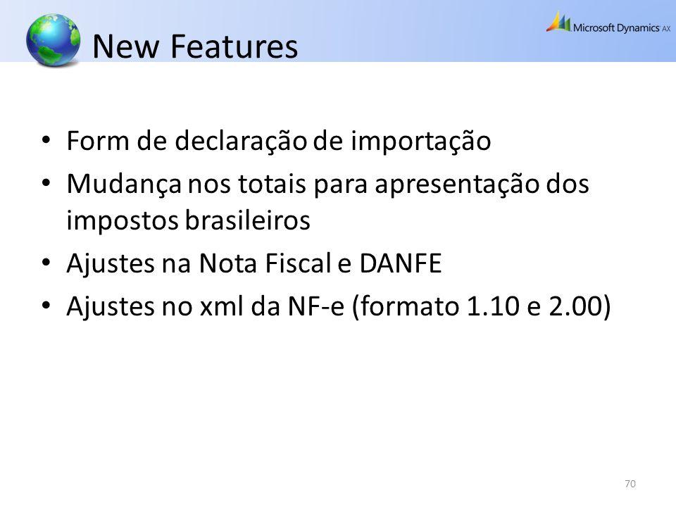 New Features Form de declaração de importação