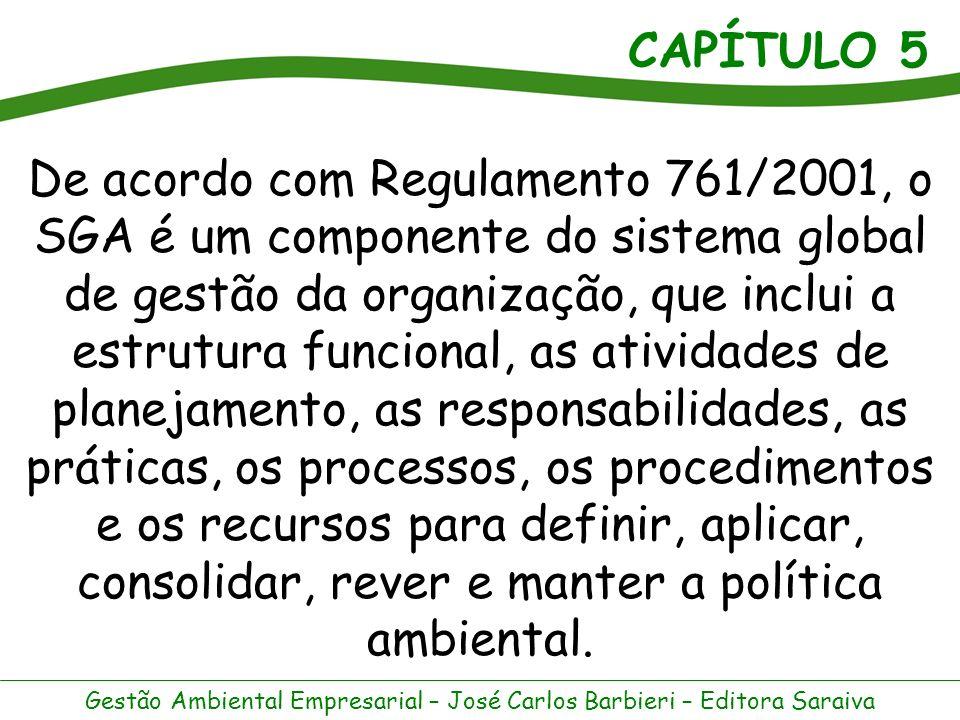 De acordo com Regulamento 761/2001, o SGA é um componente do sistema global de gestão da organização, que inclui a estrutura funcional, as atividades de planejamento, as responsabilidades, as práticas, os processos, os procedimentos e os recursos para definir, aplicar, consolidar, rever e manter a política ambiental.