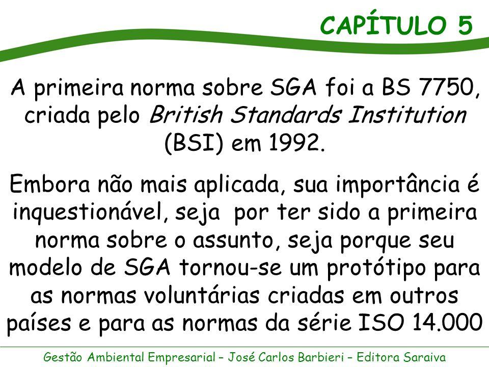 A primeira norma sobre SGA foi a BS 7750, criada pelo British Standards Institution (BSI) em 1992.