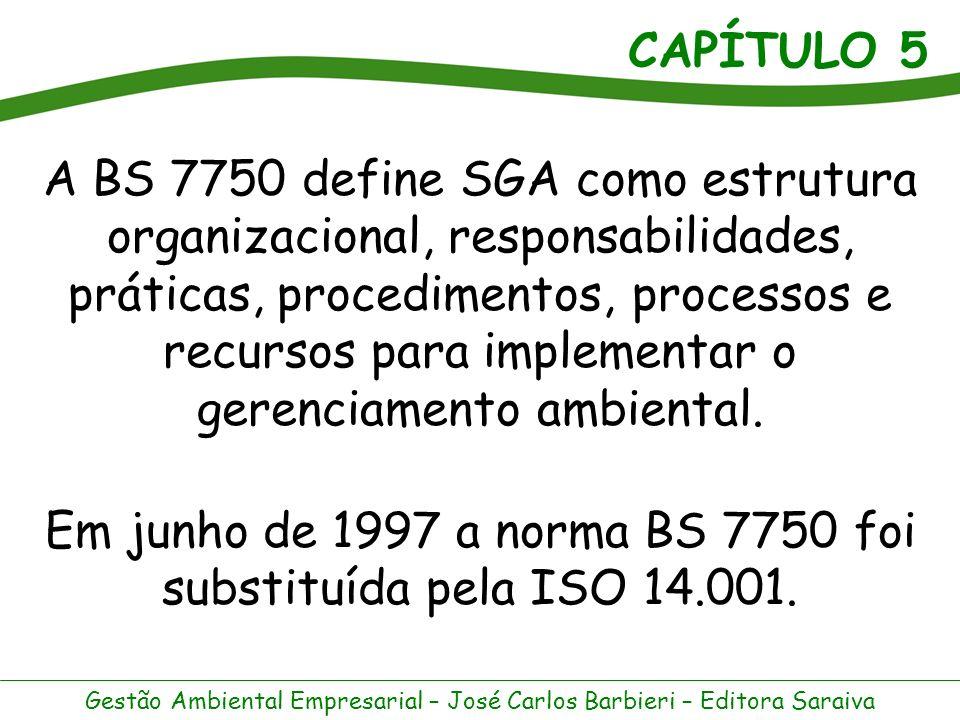 Em junho de 1997 a norma BS 7750 foi substituída pela ISO 14.001.