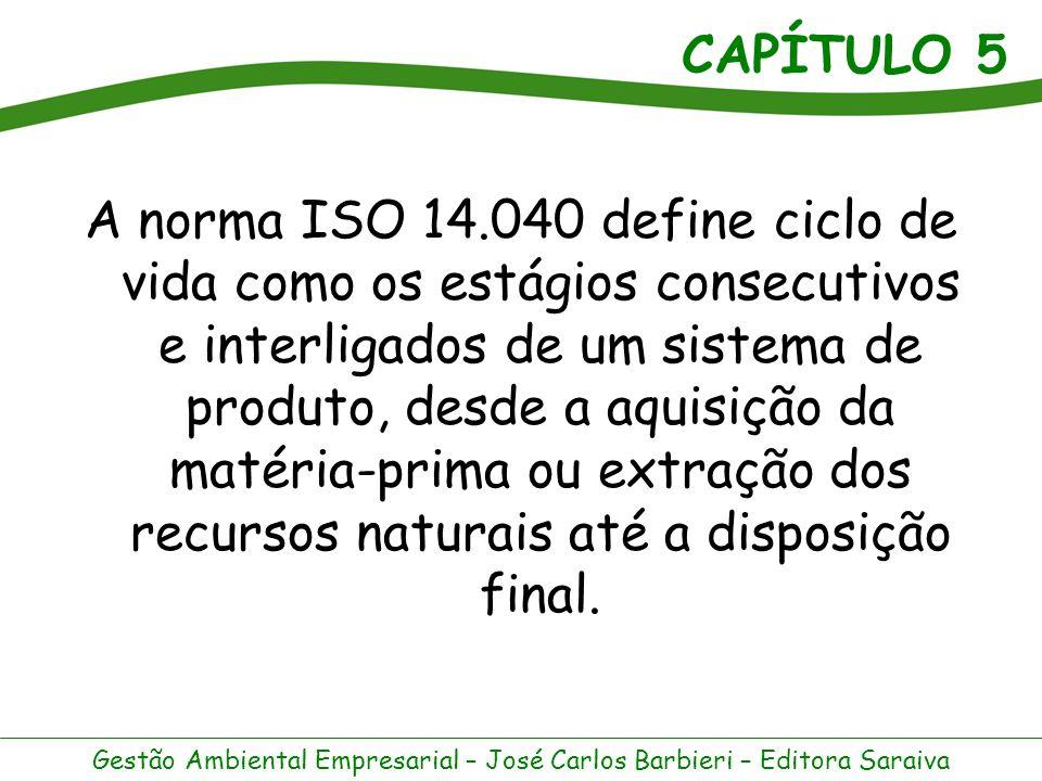 A norma ISO 14.040 define ciclo de vida como os estágios consecutivos e interligados de um sistema de produto, desde a aquisição da matéria-prima ou extração dos recursos naturais até a disposição final.