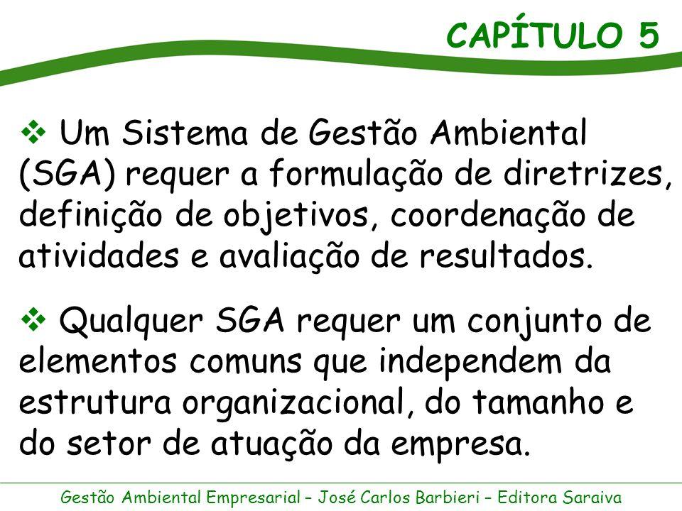 Um Sistema de Gestão Ambiental (SGA) requer a formulação de diretrizes, definição de objetivos, coordenação de atividades e avaliação de resultados.