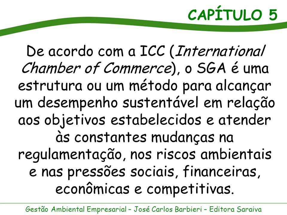 De acordo com a ICC (International Chamber of Commerce), o SGA é uma estrutura ou um método para alcançar um desempenho sustentável em relação aos objetivos estabelecidos e atender às constantes mudanças na regulamentação, nos riscos ambientais e nas pressões sociais, financeiras, econômicas e competitivas.