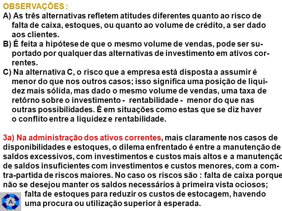 OBSERVAÇÕES : A) As três alternativas refletem atitudes diferentes quanto ao risco de.