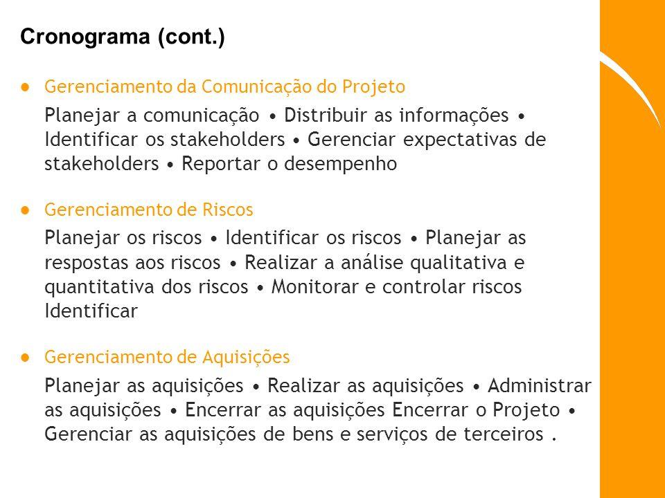 Cronograma (cont.) Gerenciamento da Comunicação do Projeto.