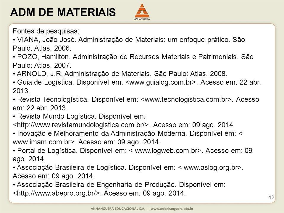 Fontes de pesquisas: • VIANA, João José. Administração de Materiais: um enfoque prático. São Paulo: Atlas, 2006.