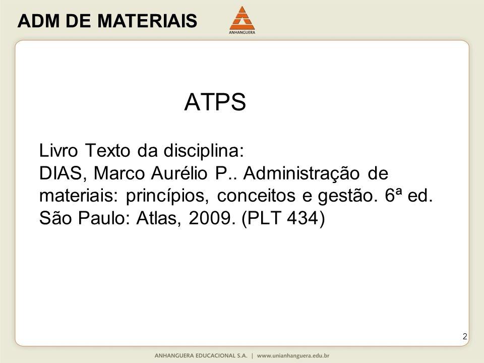 ATPS Livro Texto da disciplina: DIAS, Marco Aurélio P