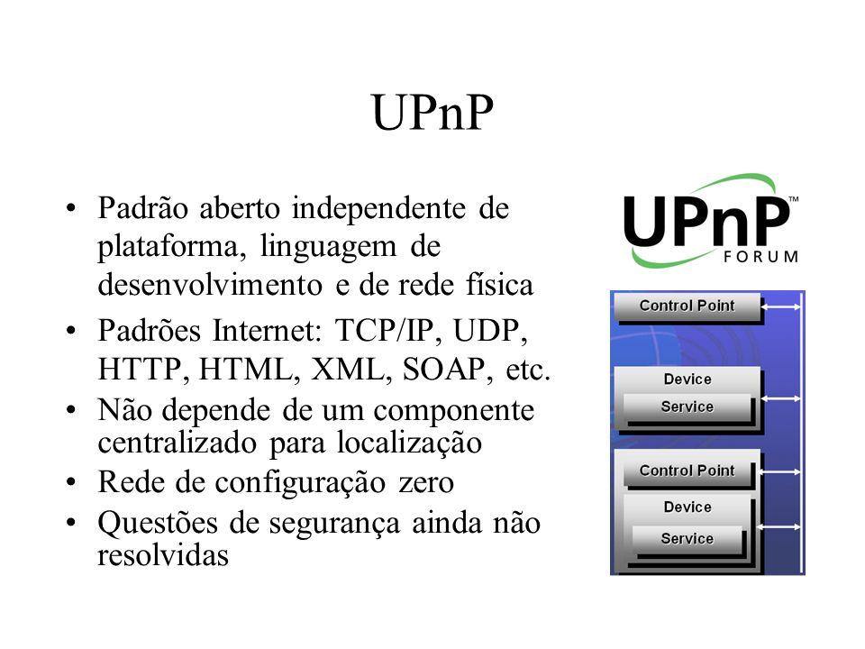 UPnP Padrão aberto independente de plataforma, linguagem de desenvolvimento e de rede física.