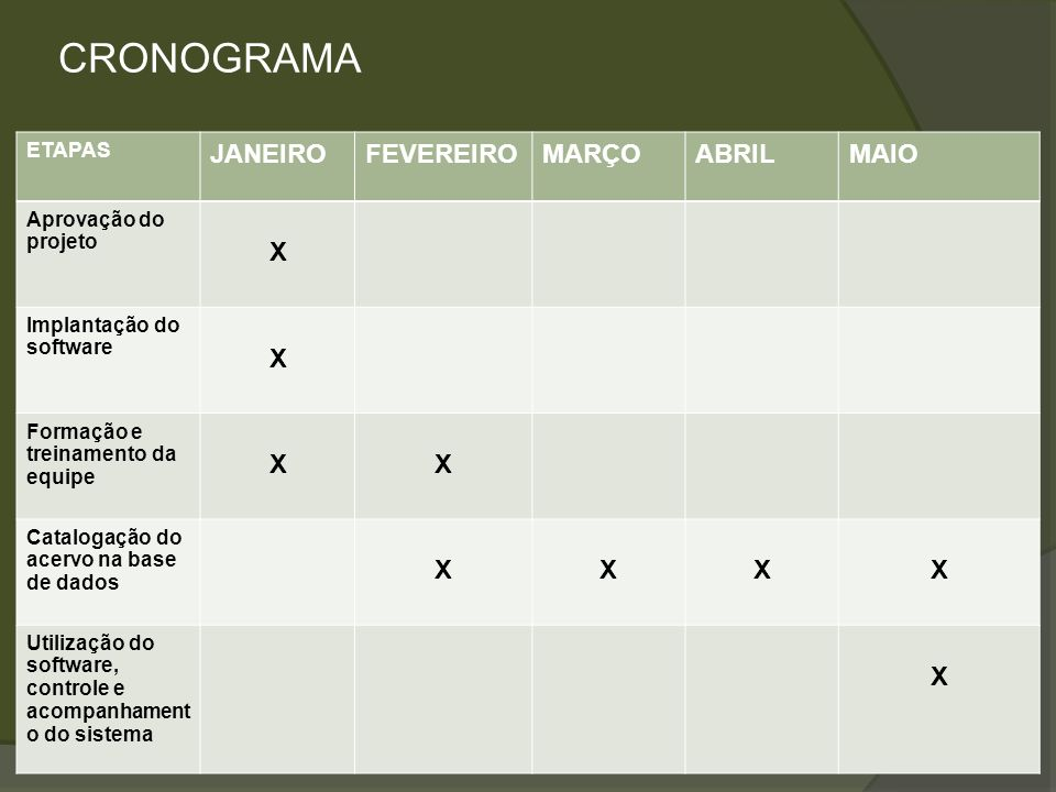 CRONOGRAMA JANEIRO FEVEREIRO MARÇO ABRIL MAIO X ETAPAS