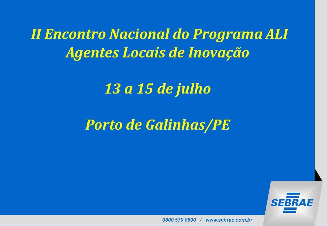 II Encontro Nacional do Programa ALI Agentes Locais de Inovação
