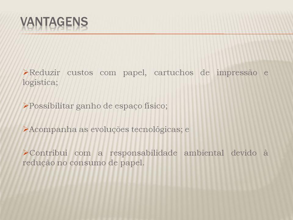 Vantagens Reduzir custos com papel, cartuchos de impressão e logística; Possibilitar ganho de espaço físico;