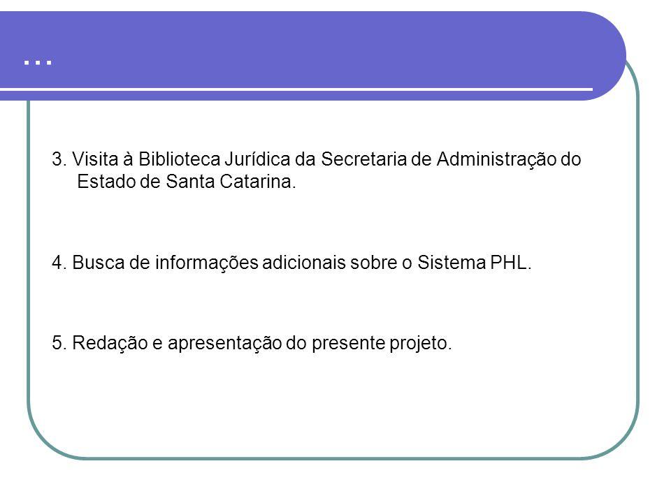 ... 3. Visita à Biblioteca Jurídica da Secretaria de Administração do Estado de Santa Catarina.