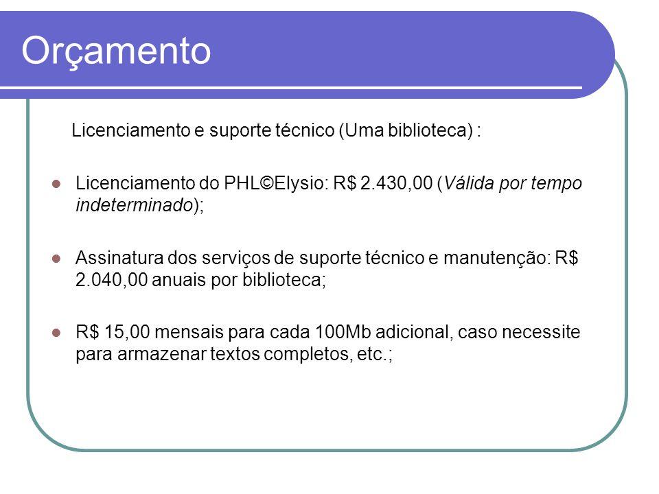 Orçamento Licenciamento e suporte técnico (Uma biblioteca) :