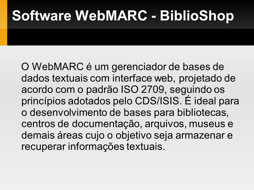 Software WebMARC - BiblioShop