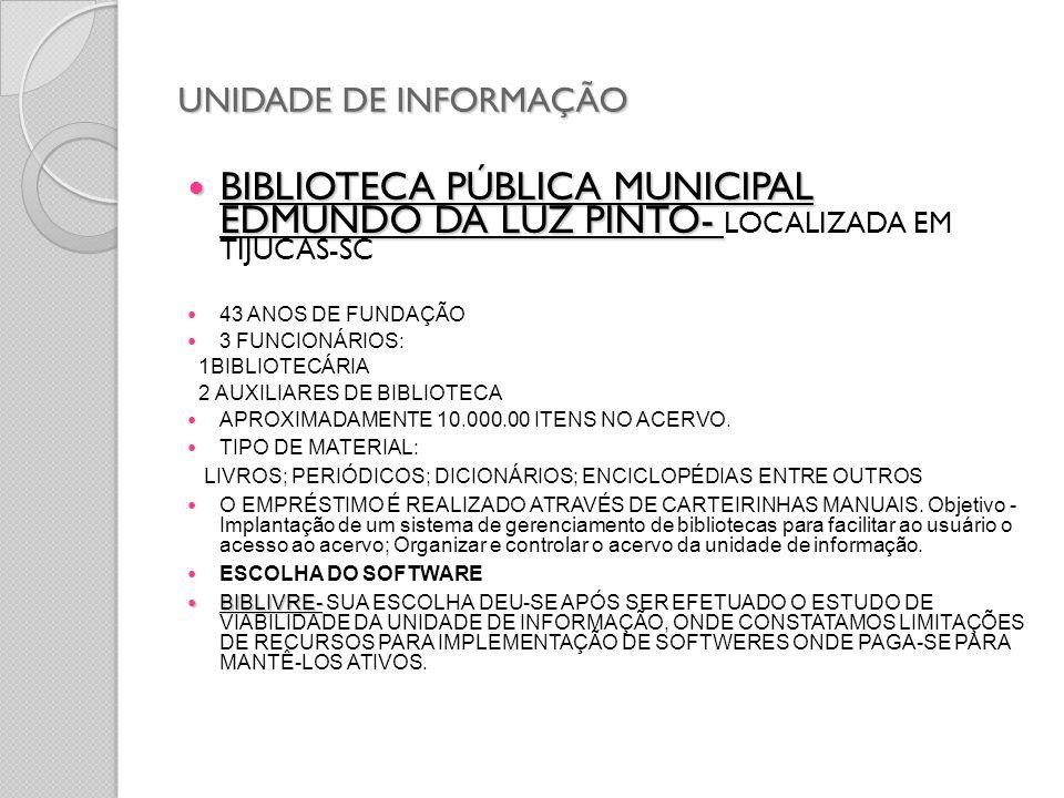 UNIDADE DE INFORMAÇÃO BIBLIOTECA PÚBLICA MUNICIPAL EDMUNDO DA LUZ PINTO- LOCALIZADA EM TIJUCAS-SC.
