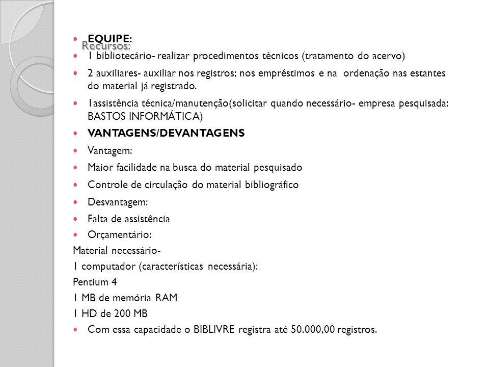 Recursos: EQUIPE: 1 bibliotecário- realizar procedimentos técnicos (tratamento do acervo)