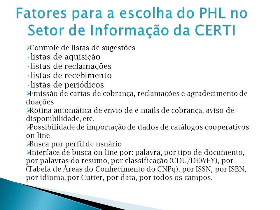 Fatores para a escolha do PHL no Setor de Informação da CERTI