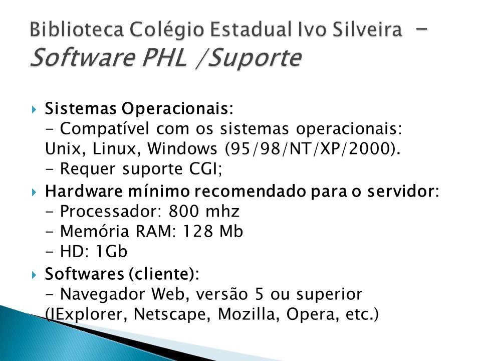 Biblioteca Colégio Estadual Ivo Silveira -Software PHL /Suporte