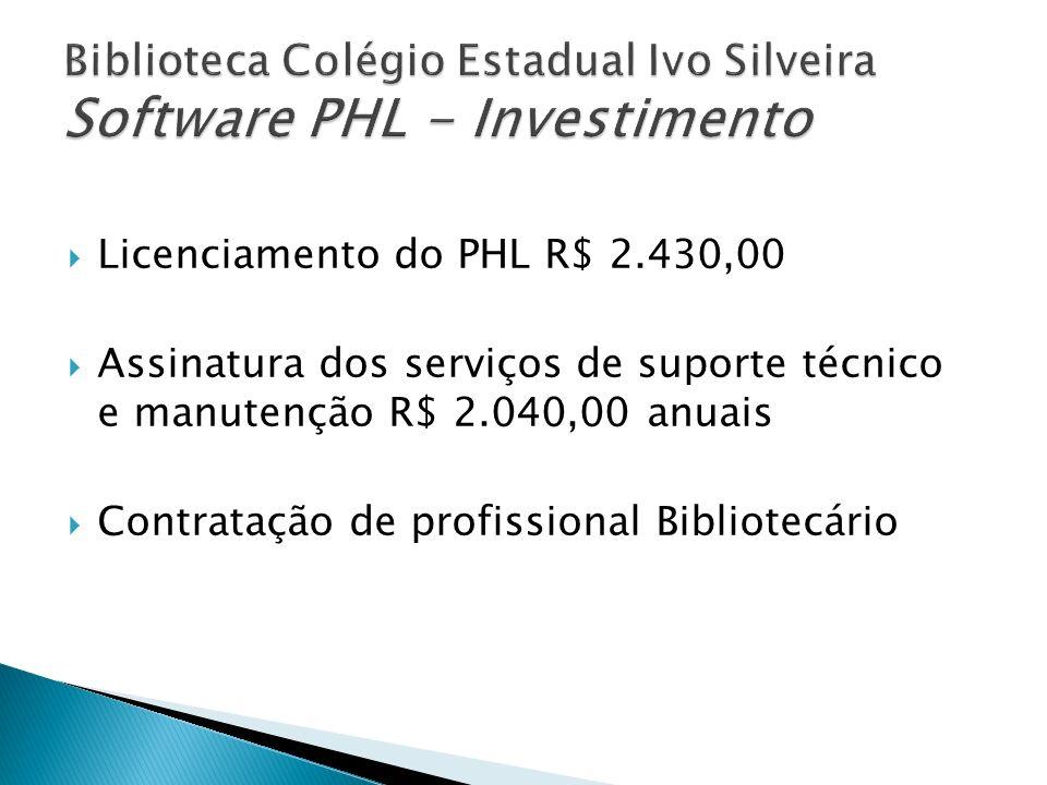 Biblioteca Colégio Estadual Ivo Silveira Software PHL - Investimento