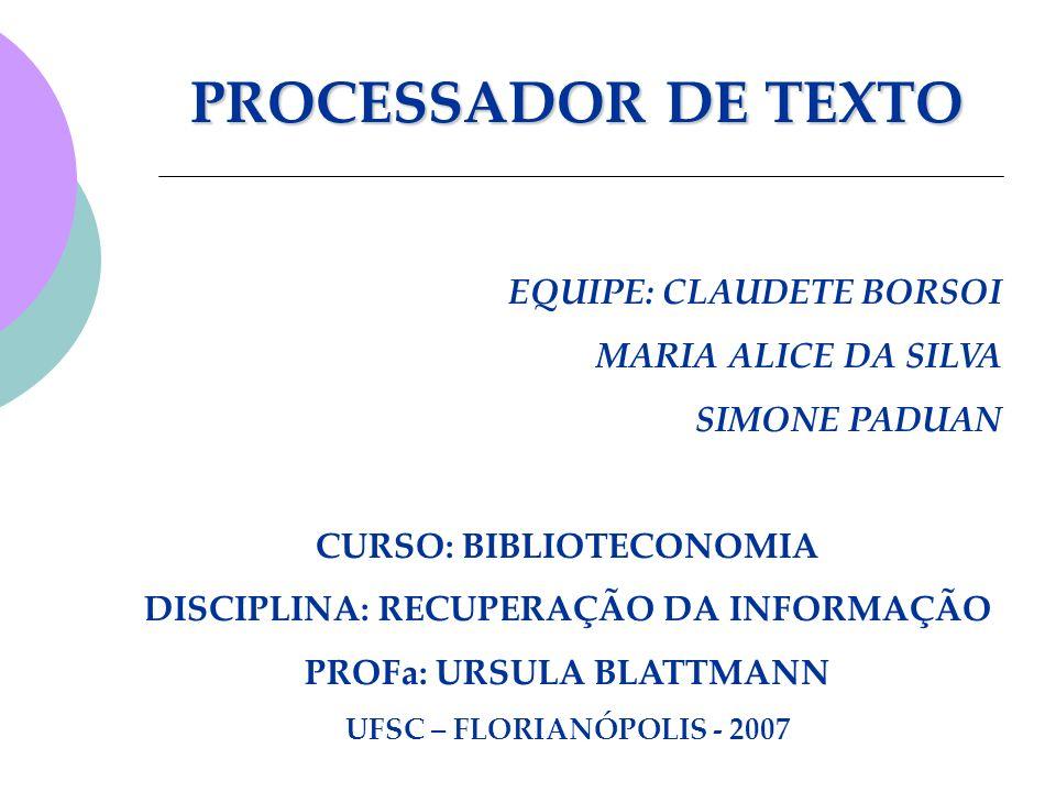 PROCESSADOR DE TEXTO EQUIPE: CLAUDETE BORSOI MARIA ALICE DA SILVA