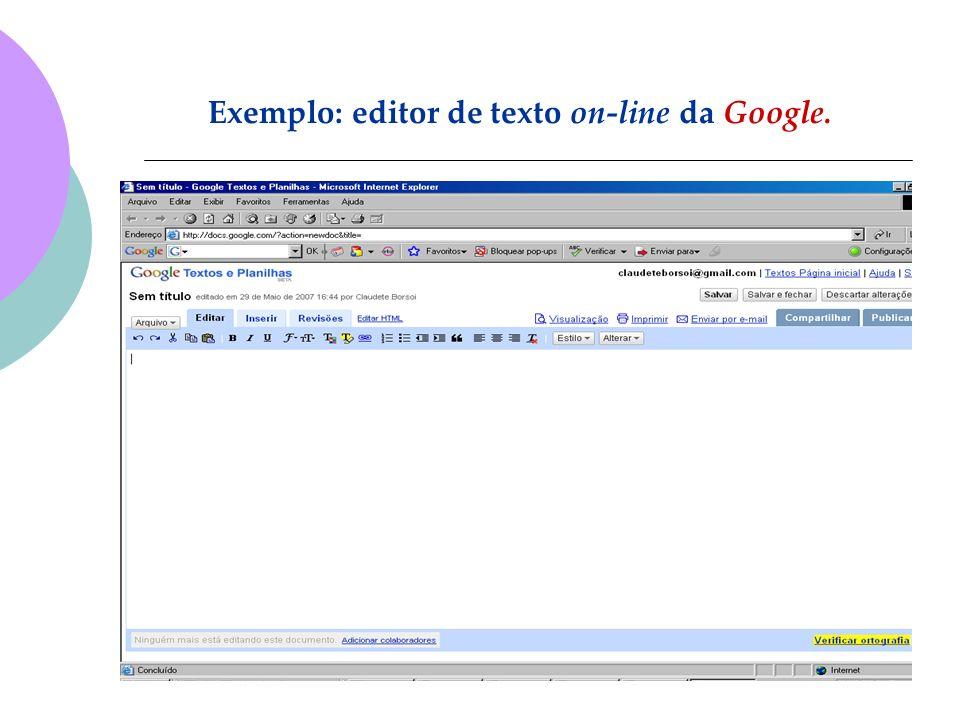 Exemplo: editor de texto on-line da Google.