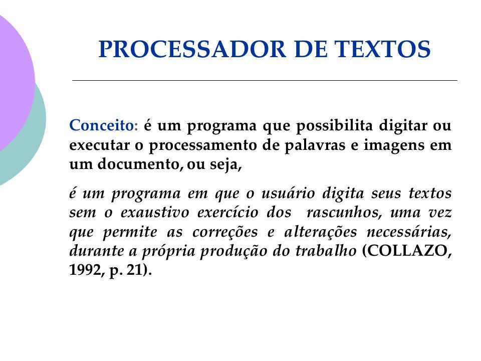 PROCESSADOR DE TEXTOS Conceito: é um programa que possibilita digitar ou executar o processamento de palavras e imagens em um documento, ou seja,