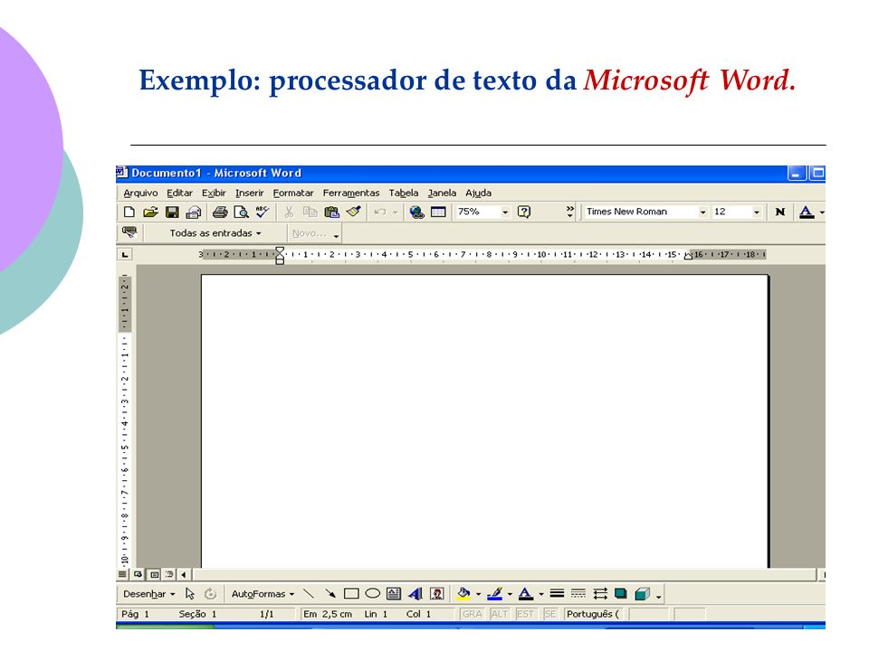 Exemplo: processador de texto da Microsoft Word.