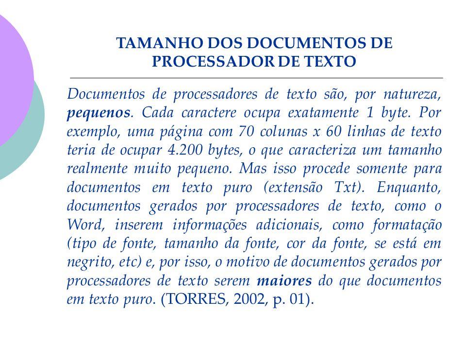 TAMANHO DOS DOCUMENTOS DE PROCESSADOR DE TEXTO