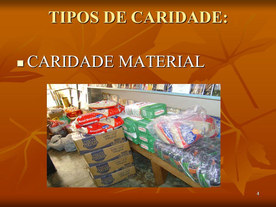 TIPOS DE CARIDADE: CARIDADE MATERIAL