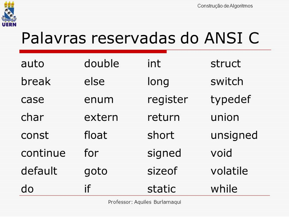 Palavras reservadas do ANSI C