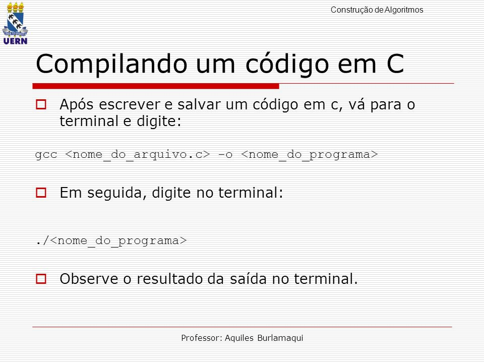 Compilando um código em C